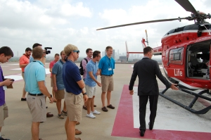 A visit to the helipad to see the Life Flight helicopter was the highlight of the tour for the brothers.
