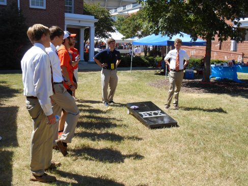 I was able to join the Auburn Chapter for a SEC football weekend special as they played Mississippi State. The men have a spot right in the middle of the action as they tailgate for the game. A brother made a corn-hole set for the chapter, and it almost looked like it was printed on there it was so sharp looking.